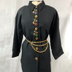 Vintage 90's Embroidered Gold Accent Top Sz XL